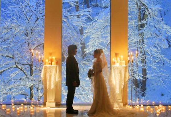 ウエディングキャンドル|冬の結婚式