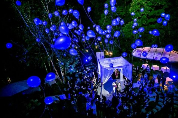 バルーンリリース|夜|ガーデンウエディング