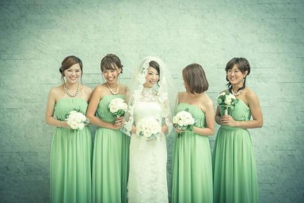 ブライズメイド|花嫁|緑のコーディネート
