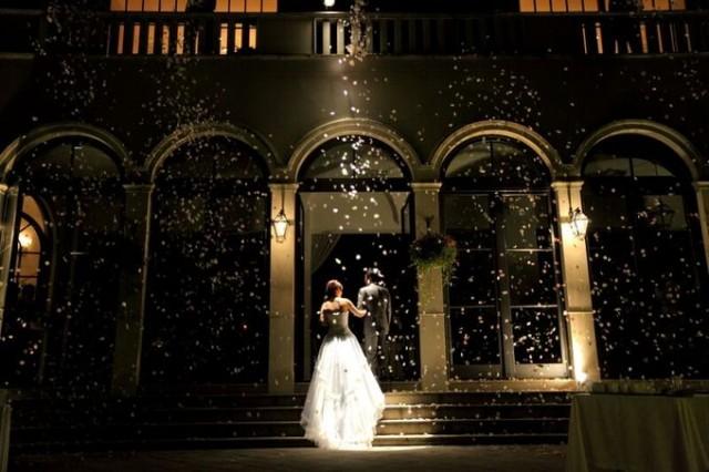 フラワーシャワーの中入場する新郎新婦様|ジャルダンドゥボヌール