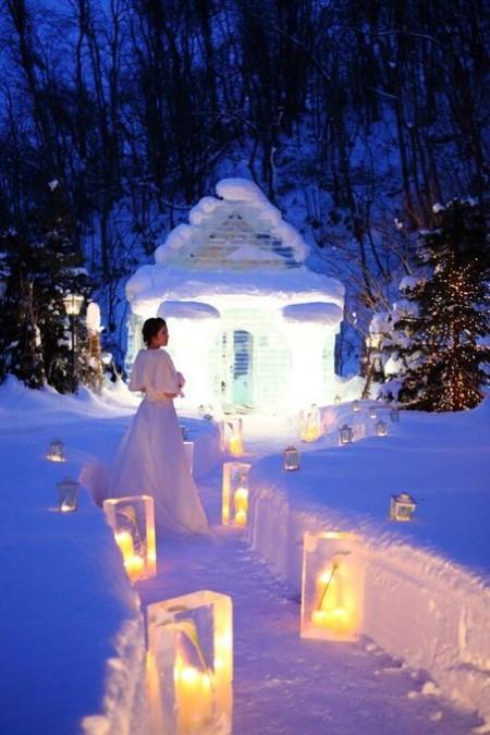 冬の結婚式|ジャルダンドゥボヌール|アイスバー