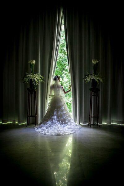 カーテンを開ける花嫁様